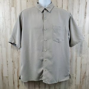 REI Mens Button Front Shirt L Gray Casual Rayon